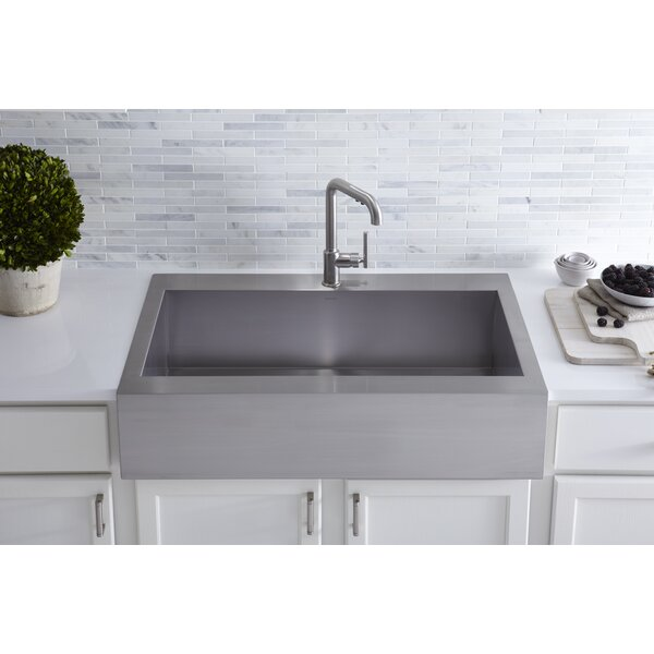 stainless steel apron front kitchen sinks kohler vault top mount single bowl stainless steel kitchen 9384