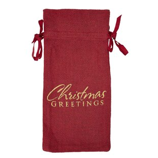 Classic Christmas Holiday Tabletop and Kitchen Burlap Greetings Wine Bag Carrier