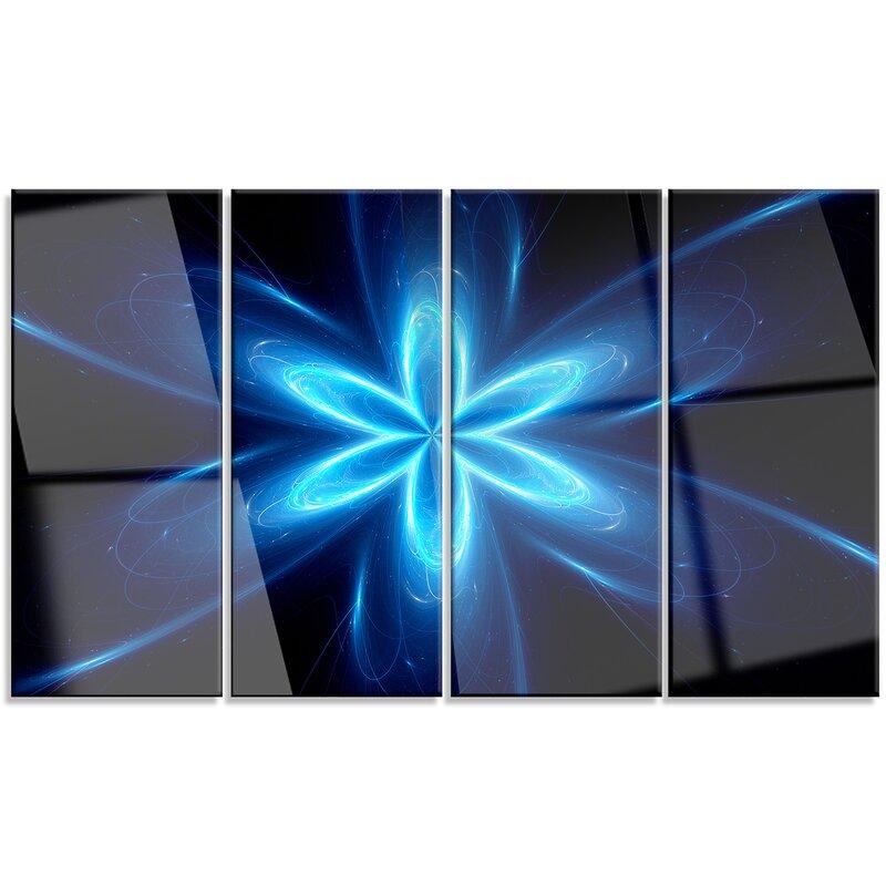 Designart Blue Glowing Space Fractal Flower 4 Piece Graphic Art On Wrapped Canvas Set Wayfair
