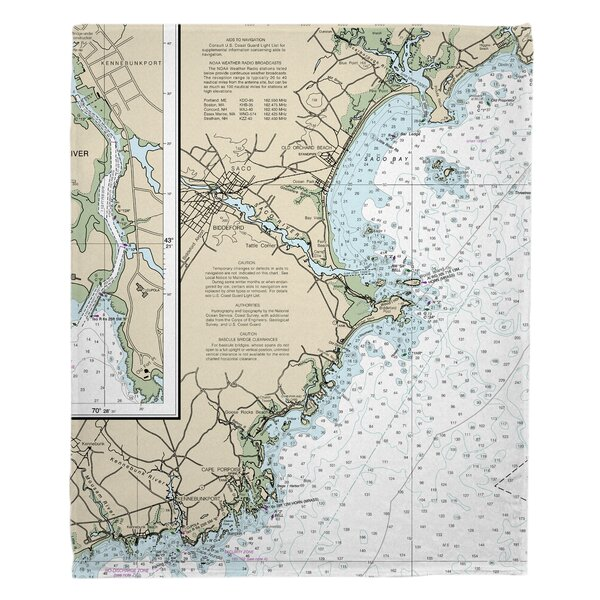 Longshore Tides Nautical Chart Biddeford Me Fleece Blanket Wayfair