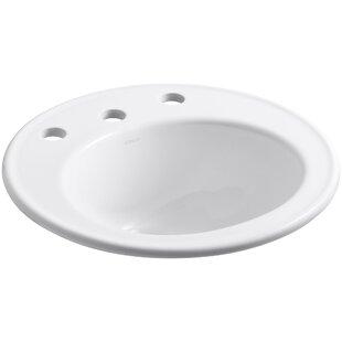 Kohler Brookline Ceramic Circular Drop-In Bathroom Sink with Overflow