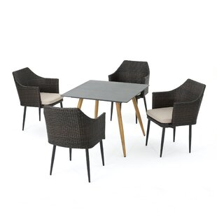 Isaac Outdoor 5 Piece Dining Set with Cushions