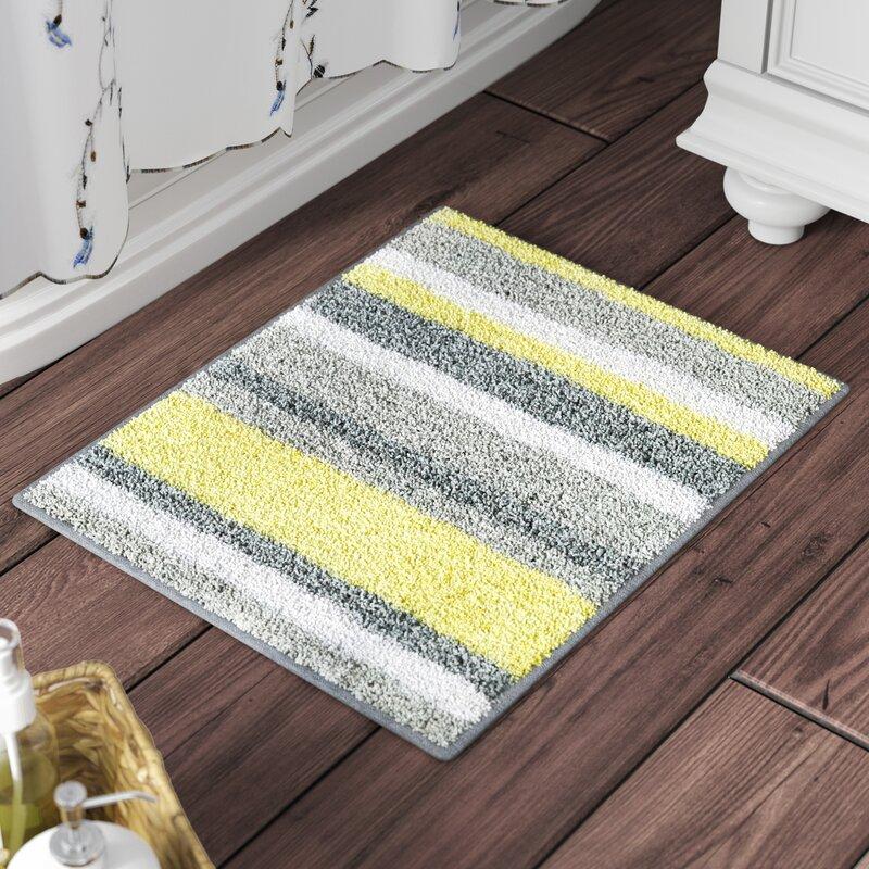 Rebrilliantrectangular Polyester Non Slip Striped Bath Rug Reviews Wayfair