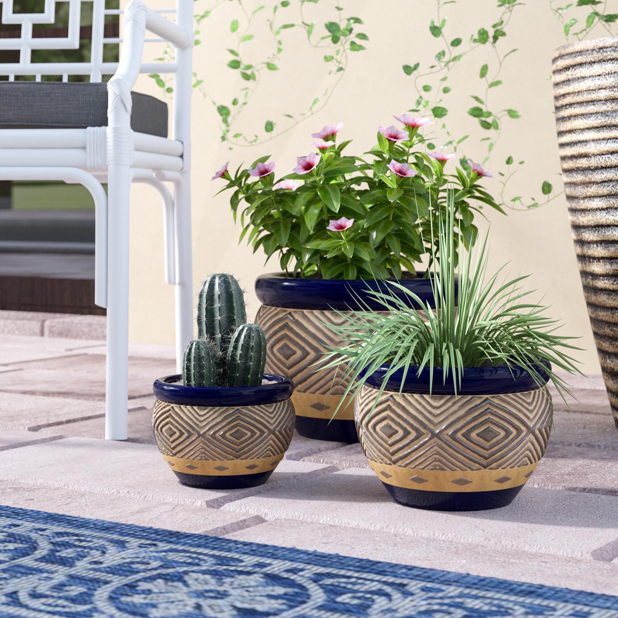 Birch Lane Warrenton 3 Piece Ceramic Pot Planter Set Reviews Wayfair Ca