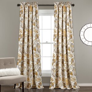 Morristown Nature/Floral Room Darkening Thermal Rod Pocket Curtain Panels (Set of 2)