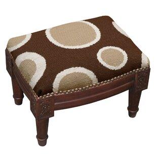 Dots Wool Needlepoint Upholstered Ottoman