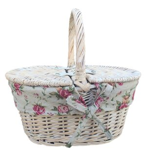 Child's Lidded Picnic Basket With Garden Rose Lining By Lily Manor