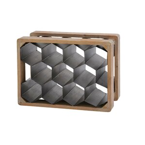 Metal Wood 11 Bottle Floor Wine Bottle Rack by Cole & Grey