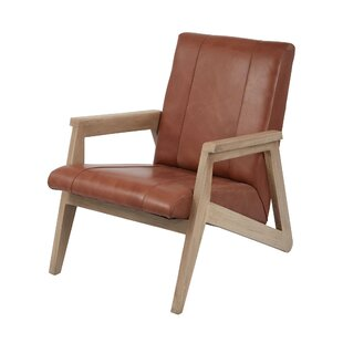 Loon Peak Yellow Pine Leather Armchair
