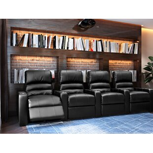 Latitude Run Waterfall Blue LED Home Theater Row Seating (Row of 4)