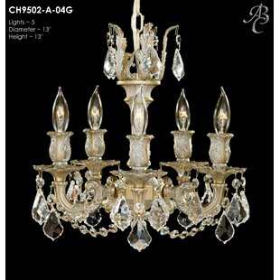 American Brass & Crystal Rosetta 5-Light Candle Style Chandelier