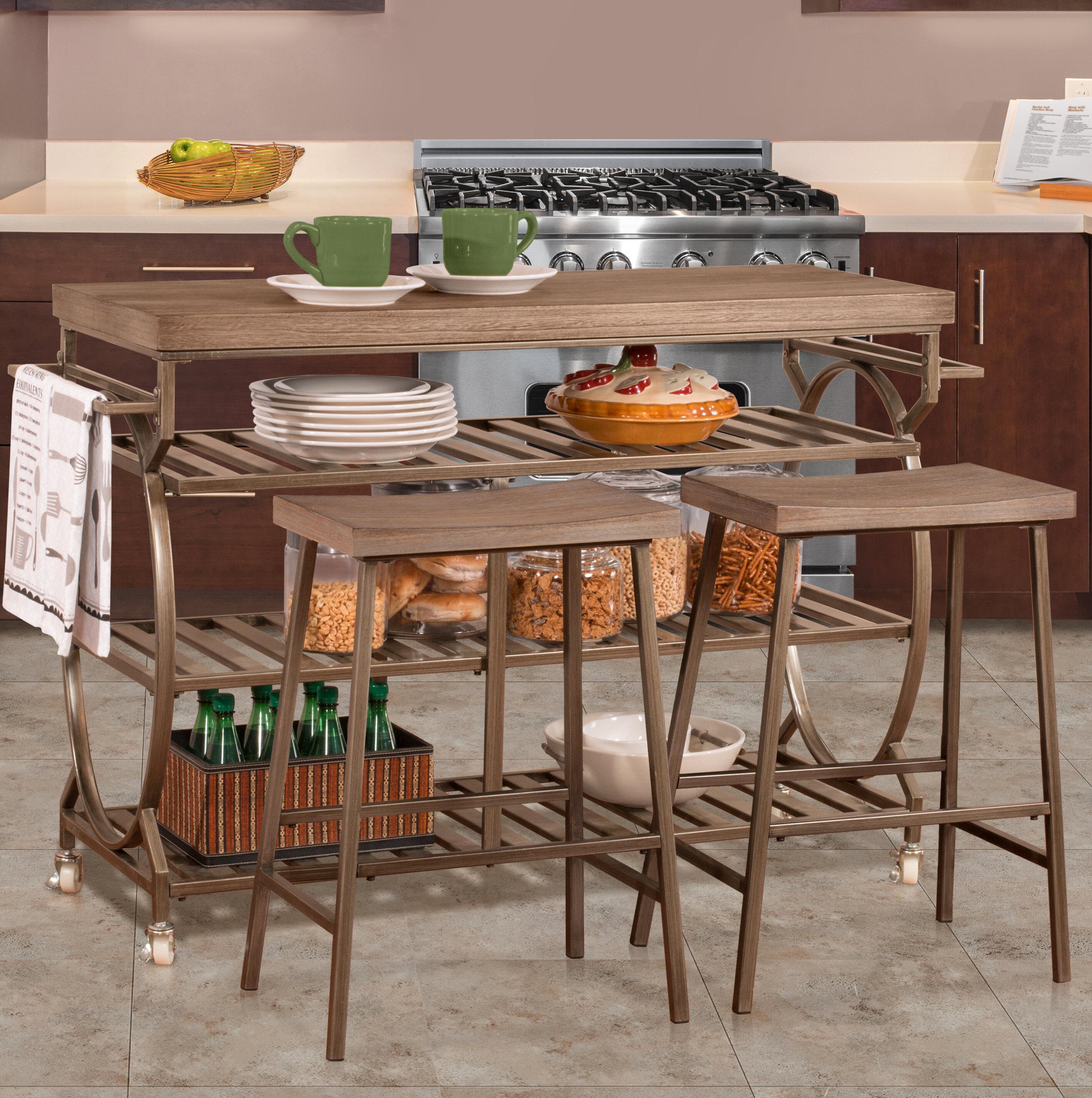 August Grove Bayles 3 Piece Kitchen Island Set Reviews Wayfair