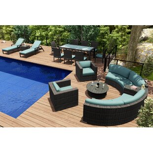 Hobbs 18 Piece Sunbrella Sectional Set with Cushions by Rosecliff Heights