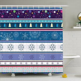 Striped Horizontal Mixed Christmas Elements Design with Dots Snowflakes Stars Retro Image Shower Curtain Set