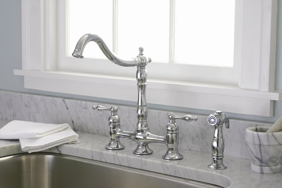 Premier Faucet Charlestown Bridge Faucet with Side Spray & Reviews ...