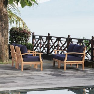 Elaina Outdoor Patio 4 Piece Teak Sofa Seating Group with Cushion