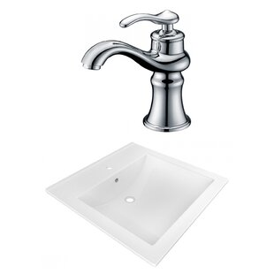 Purchase 1 Hole Ceramic Rectangular Vessel Bathroom Sink with Faucet and Overflow ByAmerican Imaginations