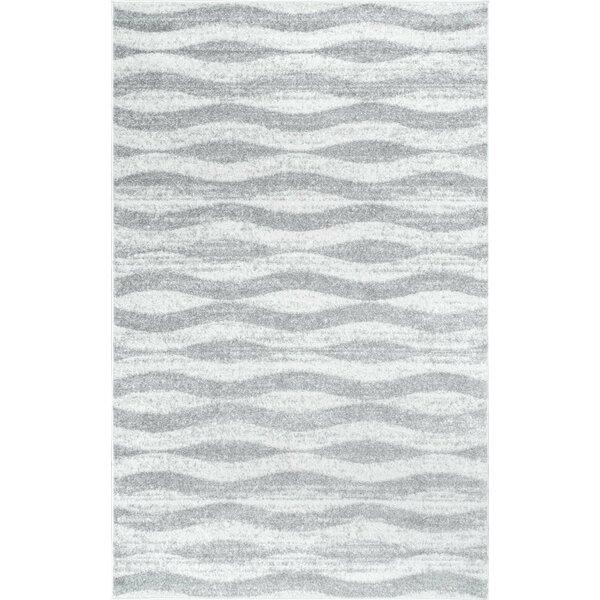 Mercury Row Lada Abstract Waves Gray/White Area Rug U0026 Reviews | Wayfair