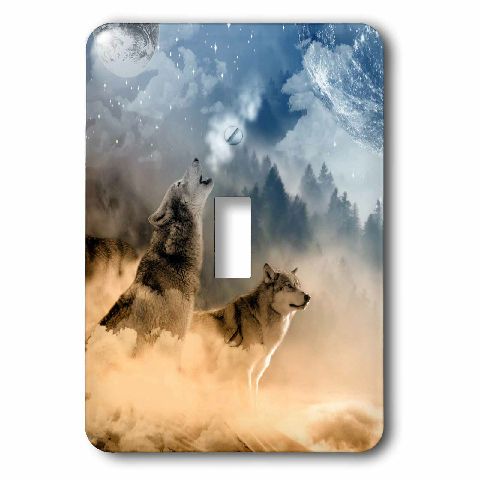 3drose Wolves Howling In Night 1 Gang Toggle Light Switch Wall Plate Wayfair