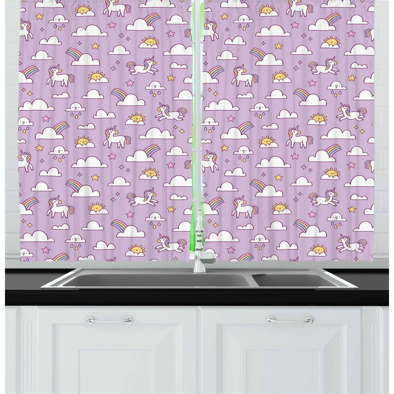 East Urban Home Unicorn Kitchen Curtain Wayfair