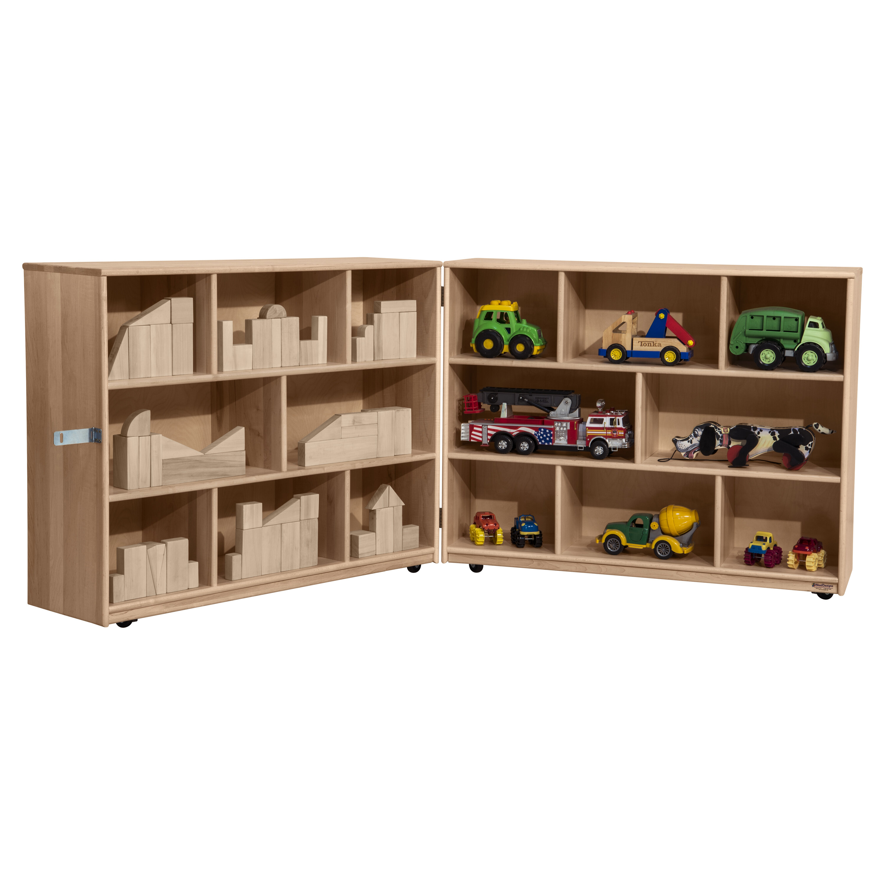 Wood Designs Maple Heritage Folding 16 Compartment Shelving Unit With Casters Wayfair