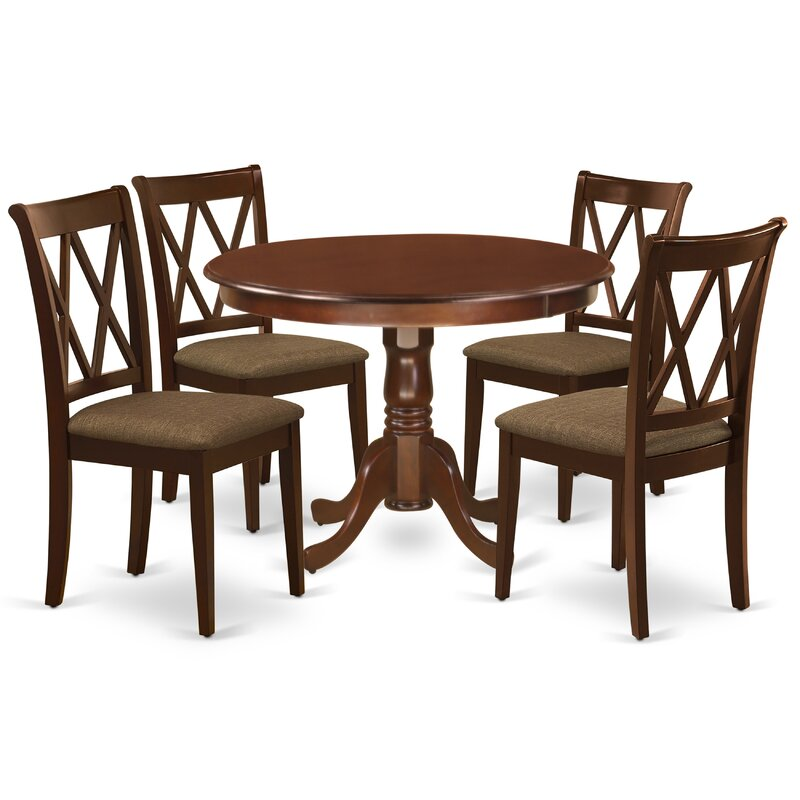 Winston Porter Schiraga 5 Piece Solid Wood Dining Set Wayfair