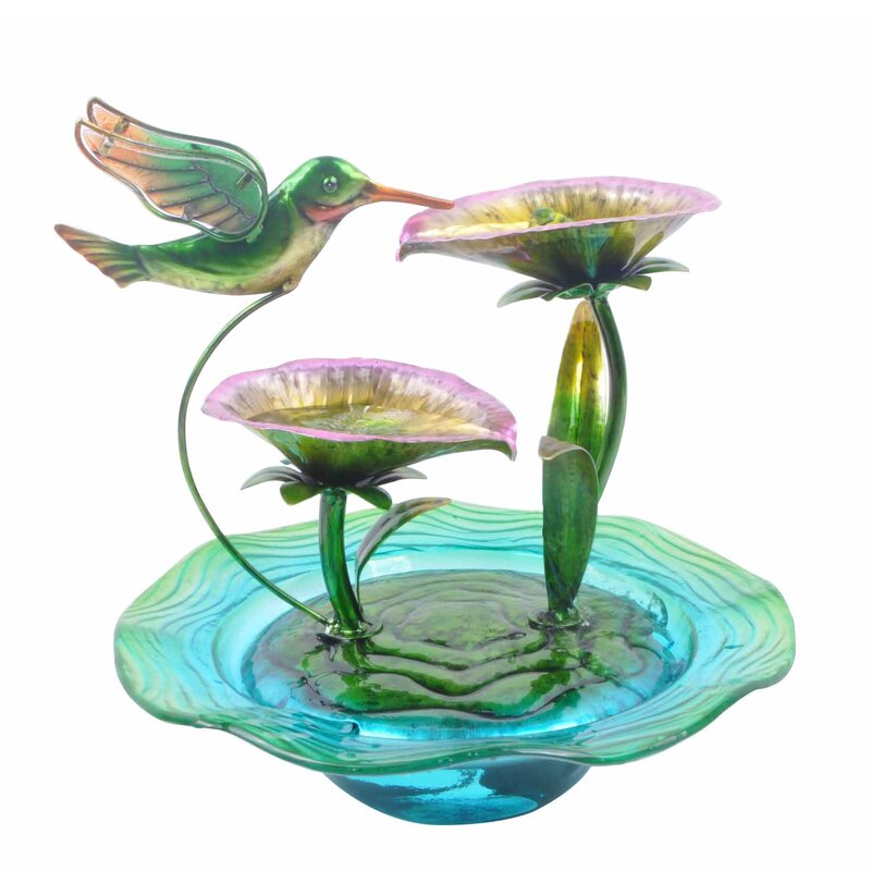 Resin Hand Painted Hummingbird Glass Tabletop Water Fountain