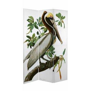 Highland Dunes Fidler Audubon Pelican 3 Panel Room Divider