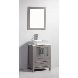 double vessel sink vanity. Meeki 24  Single Bathroom Vanity Set with Mirror Vessel Sink Vanities You ll Love Wayfair