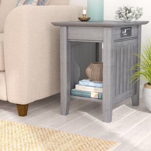 Glenni Rectangular Wood End Table with Storage Highland Dunes