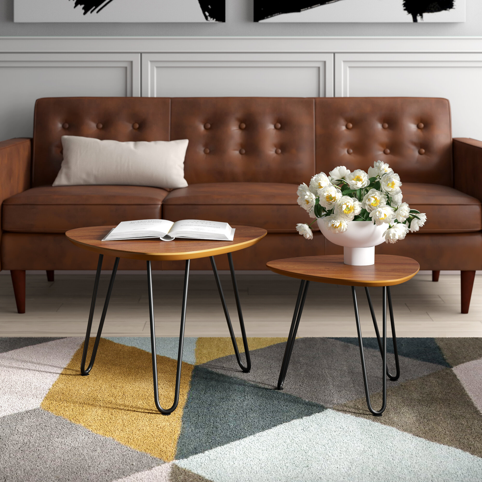 Mercury Row Labarge Hairpin Leg Wood 2 Piece Coffee Table Set