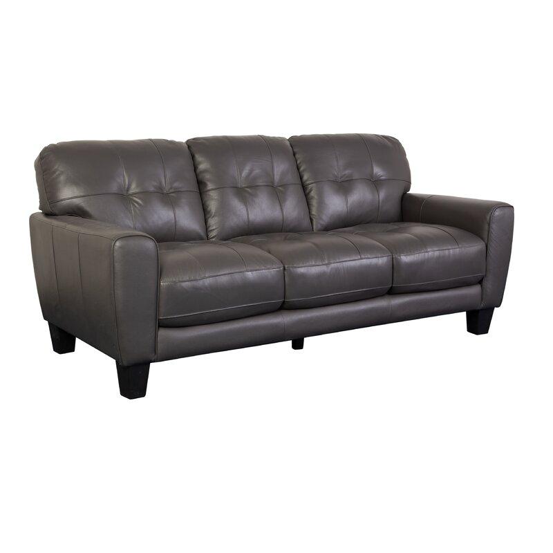 L3078 Tufted Leather Sofa Grey
