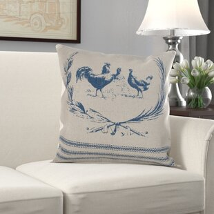 Petrarch Hen Lithograph Cotton Pillow Cover