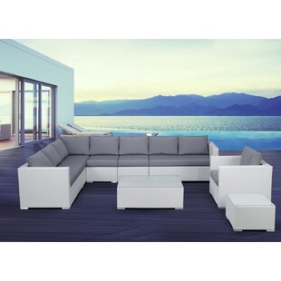 Grijalva 7 Piece Rattan Sectional Set with Cushions