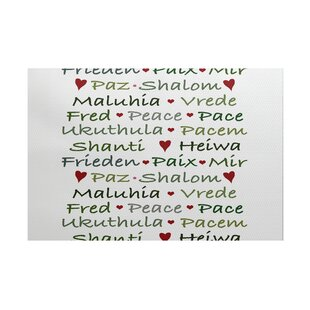 Words Of Peace Word Print White Green Indoor Outdoor Area Rug