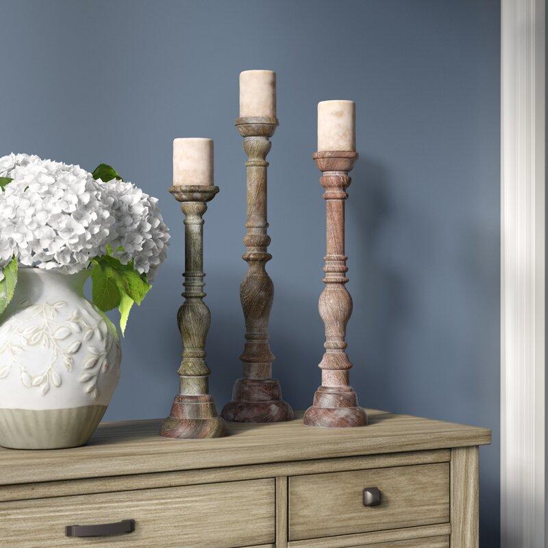 3 Piece Wood Candlestick Set