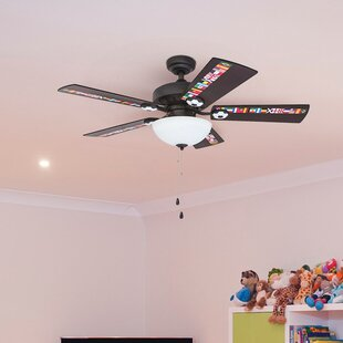 Kids ceiling fans ceiling fans with lights youll love wayfair 42 golding soccer 5 blade led ceiling fan by zoomie kids audiocablefo