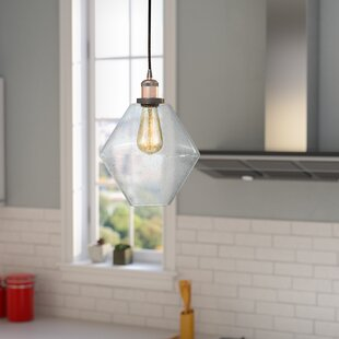 Brayden Studio Davisville Glass 1-Light Schoolhouse Pendant