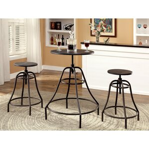 Marlett 3 Piece Adjustable Height Pub Table Set by Hokku Designs
