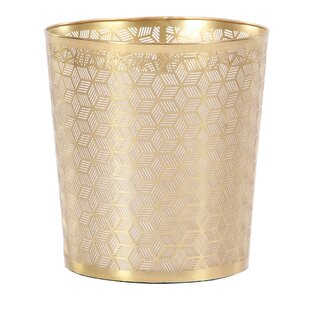 Cole & Grey Modern Geometric Lattice Design Round Waste Basket