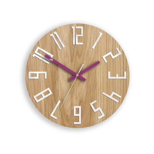 Analog Wanduhr Aislinn 33 cm | Dekoration > Uhren | Hellbraun/lila | Holz | 17 Stories