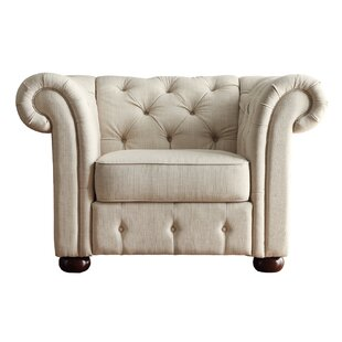 Maia Tufted Button Armchair in Beige By Willa Arlo Interiors