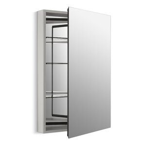 Catalan 24-1/8″ x 36″ Aluminum Single-Door Medicine Cabinet with 170 Degree Hinge