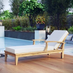 Beachcrest Home Elaina Teak Chaise Lounge