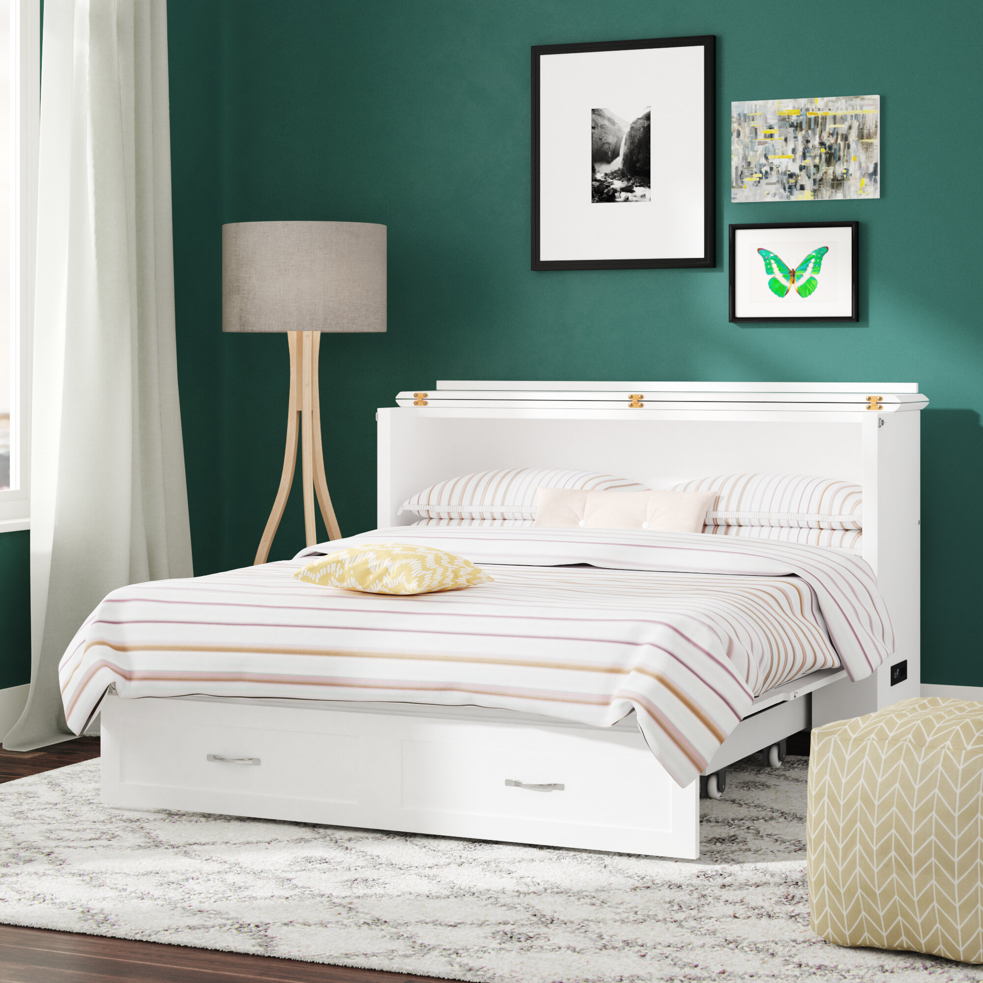 Canora Grey Audet Queen Storage Murphy Bed With Mattress Reviews Wayfair