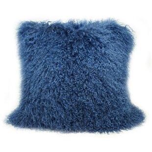Mongolian Lamb Fur Pillow Blue Wayfair