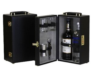 Portable 2 Bottle Leather Mini Bar