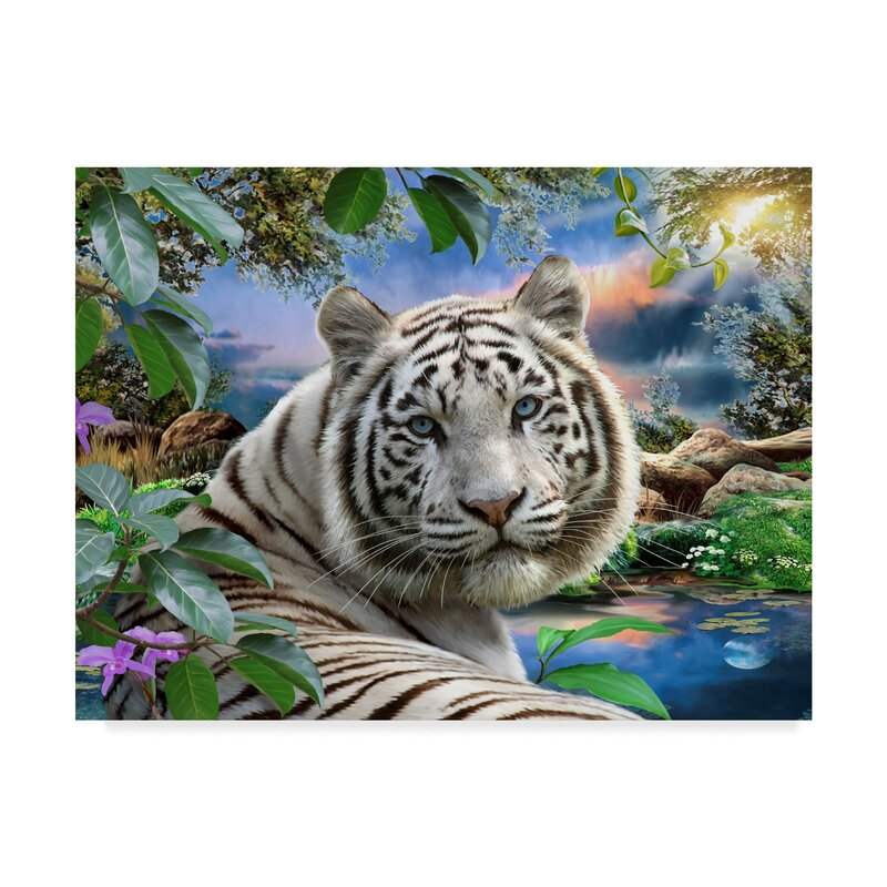 Trademark Art 'The White Tiger' Acrylic Painting Print on ...