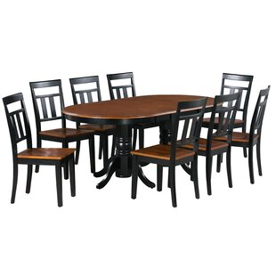 Elvis 9 Piece Extendable Solid Wood Dining Set Alcott Hill