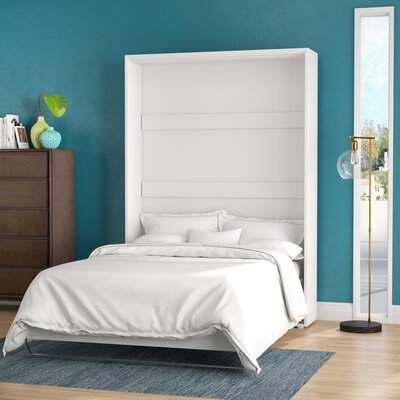 Calvin Murphy Bed with Mattress Color: White Gloss, Size: European Queen by Brayden Studio